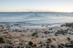 与石头的海滩 免版税库存照片