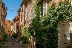 与石房子和植物的胡同视图在晴朗的蓝天下在Vence 库存图片