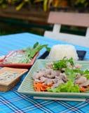 与石灰、大蒜和辣味番茄酱(与石灰的猪肉的煮沸的猪肉) 免版税库存图片