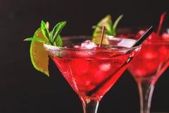 与石灰、草莓、樱桃和m的草莓酒鸡尾酒 图库摄影