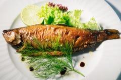 与石灰和沙拉的熏制的鳟鱼 免版税图库摄影