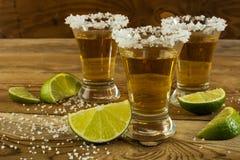 与石灰和盐接近的金子墨西哥龙舌兰酒 免版税图库摄影