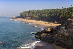 与石头和棕榈树的海滨 印度 喀拉拉 图库摄影