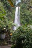 与石头寺庙的瀑布和绿叶在巴厘岛乡下,印度尼西亚 库存图片