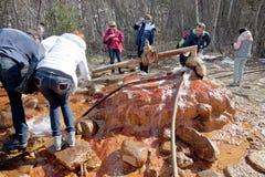 与矿泉水塞尔查水的小河 库存图片
