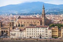 与码头和大教堂二三塔Croce的地平线 库存照片