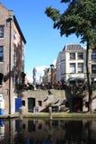 与码头的Oudegracht,荷兰 图库摄影