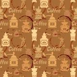 与研磨机,咖啡污点,书法文本C的无缝的样式 库存照片