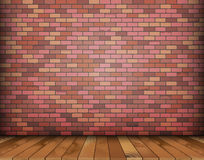 与砖和木地板的背景 库存例证