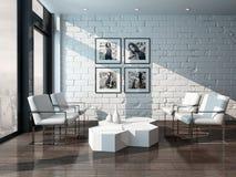 与砖墙的最低纲领派客厅内部 免版税库存照片