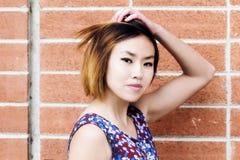 与砖墙的有吸引力的亚裔美国人妇女画象 免版税库存图片