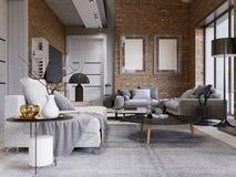 与砖墙的演播室舱内甲板和壁炉和现代家具 向量例证