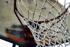 与破旧的蓝球板的篮球网 免版税库存图片