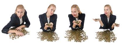 与硬币的妇女商人在白色 免版税库存照片