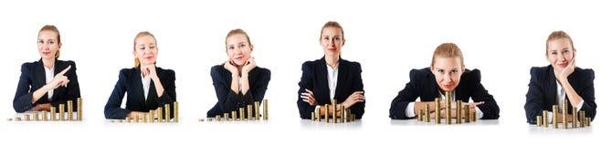 与硬币的妇女商人在白色 库存图片