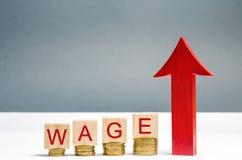 与硬币的木块和词薪水和箭头 薪金增量  工资率 作者事业增长例证s向量 增加赢利和 免版税库存图片