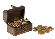与硬币的木胸口 图库摄影