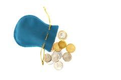 与硬币的袋子 免版税库存图片