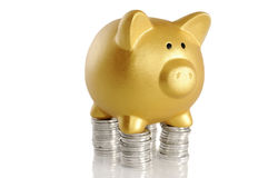 与硬币的金黄Piggybank 免版税库存照片