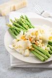 与碎屑的芦笋沙拉煮沸了鸡蛋和帕尔马干酪 图库摄影