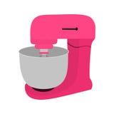 与碗的桃红色厨房搅拌器 皇族释放例证