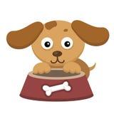 与碗的狗 免版税库存图片