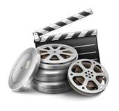 与磁带和主任拍板的影片盘摄影电影摄制的 免版税库存图片