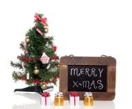 与礼品的一棵圣诞树 库存图片