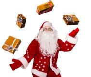 与礼品的圣诞老人 图库摄影