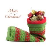 与礼品的圣诞节袋子 免版税库存图片