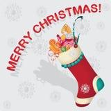 与礼品的圣诞节袜子 蓝色云彩图象彩虹天空向量 图库摄影