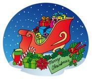 与礼品的Xmas雪撬 免版税库存图片