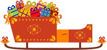 与礼物例证的被隔绝的圣诞老人的雪橇 免版税库存图片