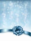 与礼物光滑的弓和丝带的假日背景 库存图片