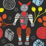 与礼物和小恶魔,在黑背景的无缝的秋天的圣诞节题材,装饰包装纸,儿童博士 免版税库存照片