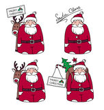 与礼物和驯鹿的动画片圣诞老人 图库摄影