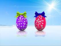 与礼物弓3d的两个复活节彩蛋回报 库存图片