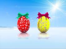 与礼物弓3d的两个复活节彩蛋回报 图库摄影