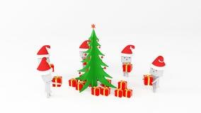 与礼物树的Boxman 向量例证