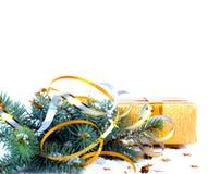 与礼物的圣诞树分支在红色箱子 图库摄影
