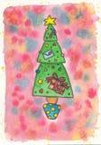 与礼物的圣诞树 库存图片