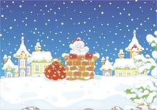 与礼物的圣诞老人在烟囱 免版税库存图片