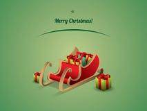 与礼物的圣诞老人雪橇 免版税库存图片