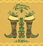 与礼物的圣诞节起动在难看的东西灰棕色背景的禅宗乱画样式 向量例证