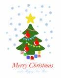 与礼物的抽象圣诞树-平的例证 免版税库存照片