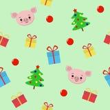 与礼物的无缝的圣诞节样式,逗人喜爱的猪,圣诞树纺织品的,明信片,包装纸,海报传染媒介例证 皇族释放例证