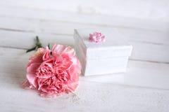 与礼物的桃红色花装饰 免版税库存照片
