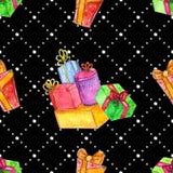 与礼物的水彩圣诞节无缝的样式 库存例证