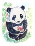 与礼物的熊猫 免版税库存照片