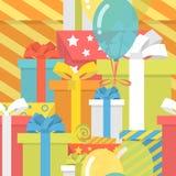 与礼物的生日样式 向量例证